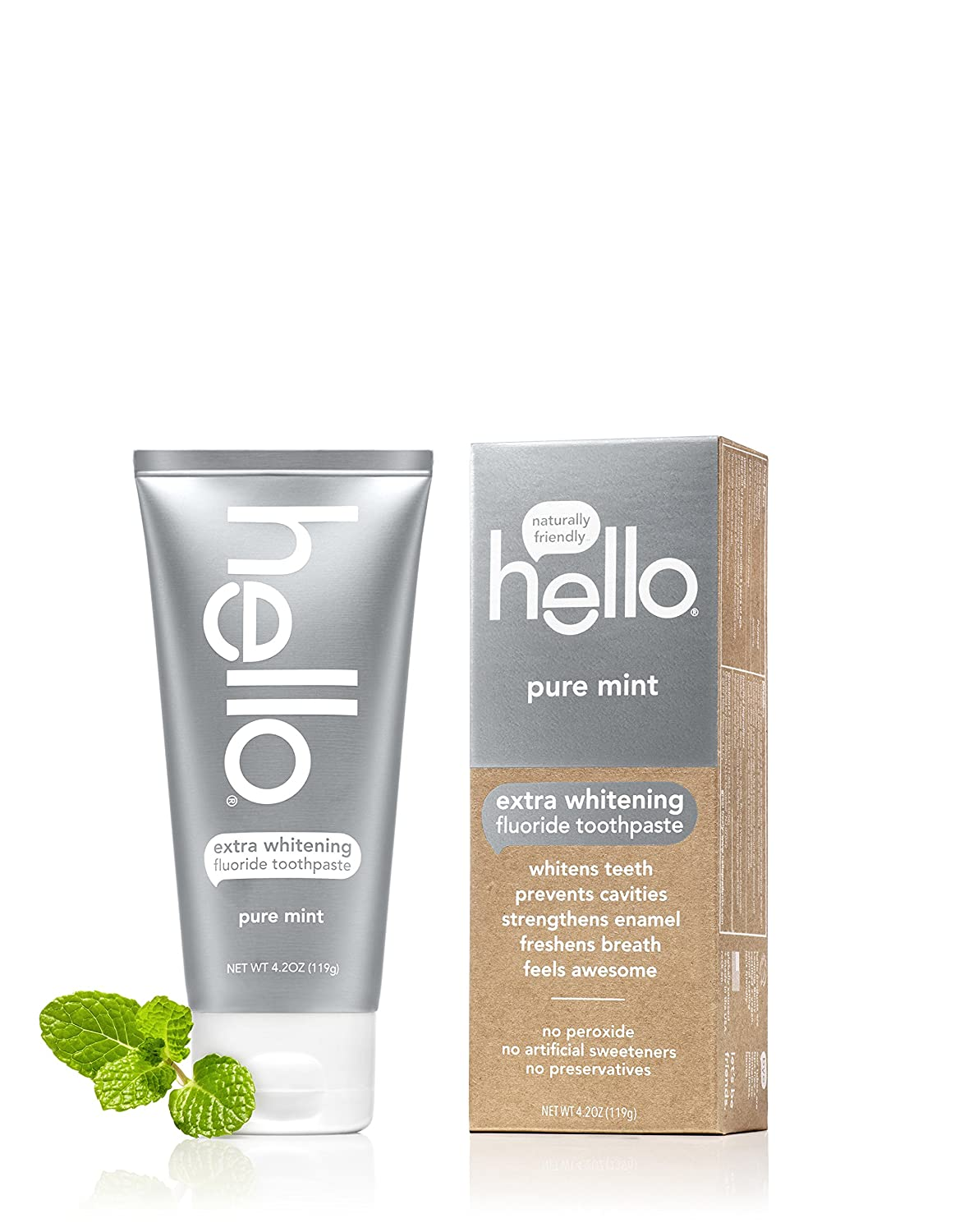 Hello Oral Care Extra Whitening Fluoride Toothpaste, Pure Mint, 4.2 Ounce by Hello Oral Care
