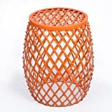 HOMEBEEZ Home Garden Accents Wire Round Iron Metal Stripes Stool Side End Table Plant Stand, Hatched Diamond Pattern (Orange)