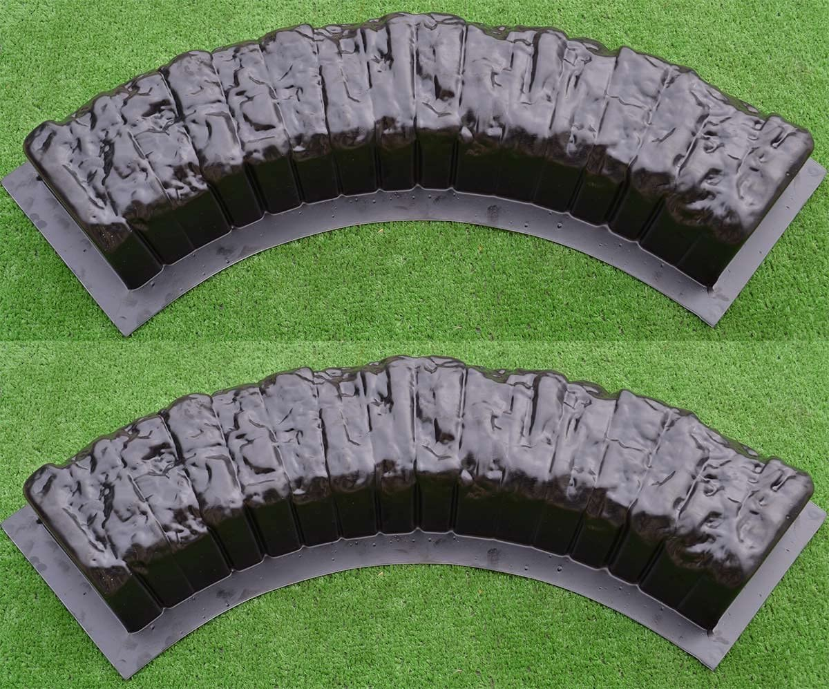 Betonex 2 pcs Round Edge Stone Concrete MOLDS Log Edging Border Mould ABS Plastic #BR11
