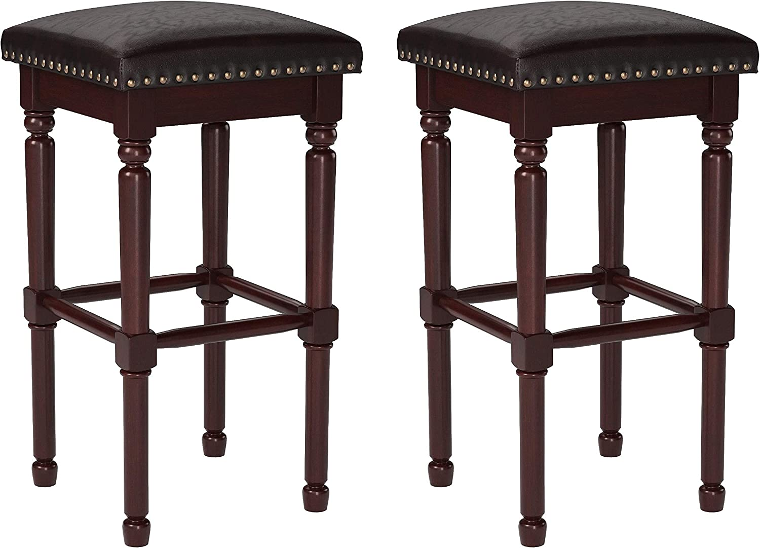 "Amazon Brand – Ravenna Home Ferris Nailhead Detailed Wood Bar Stool, 29.3""H, Antique Walnut with Dark Brown Faux Leather (2 Pack)"