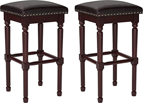 Amazon Brand Ravenna Home Ferris Nailhead Detailed Wood Bar Stool, 29.3 H, Antique Walnut with Dark Brown Faux Leather 2 Pack