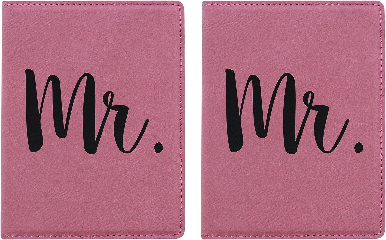 Pink Passport Holder Mr. Passport Cover 2-pack Laser Engraved Leatherette Passport Holders Pink Mr