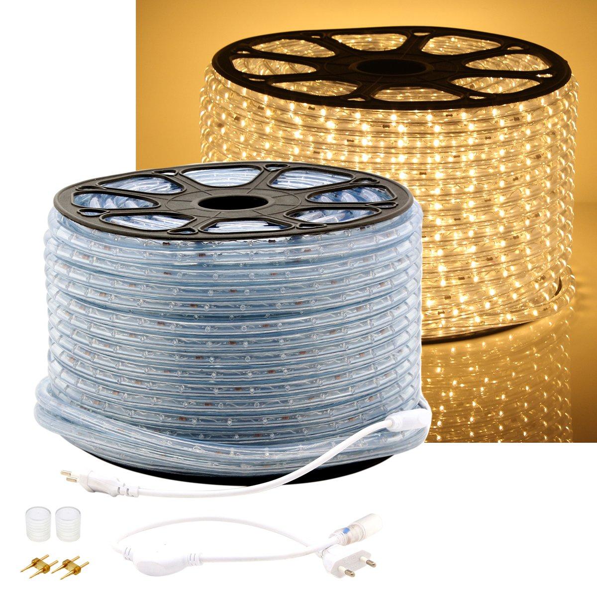 Lichtschlauch Lichterkette Licht Leiste LED Streifen Strip 36LEDs//M Schlauch f/ür Innen und Au/ßen IP65 Warmwei/ß GreenSun LED Lighting LED Lichterschlauch 20M