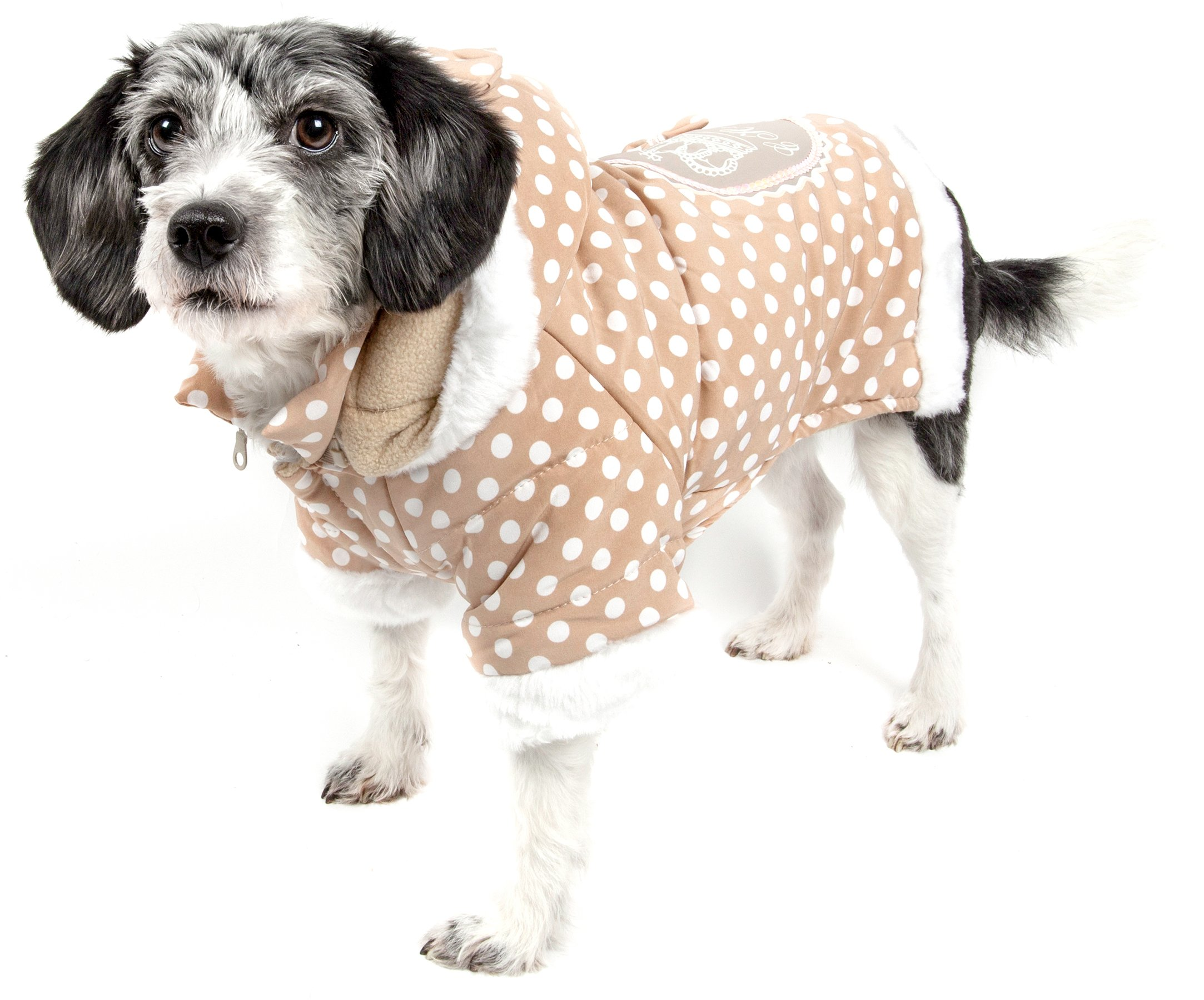 Pet Life Couture-Bow' Polka Dot Designer Fashion Pet Dog Hooded Sweater Hoodie, Small, Brown Polka