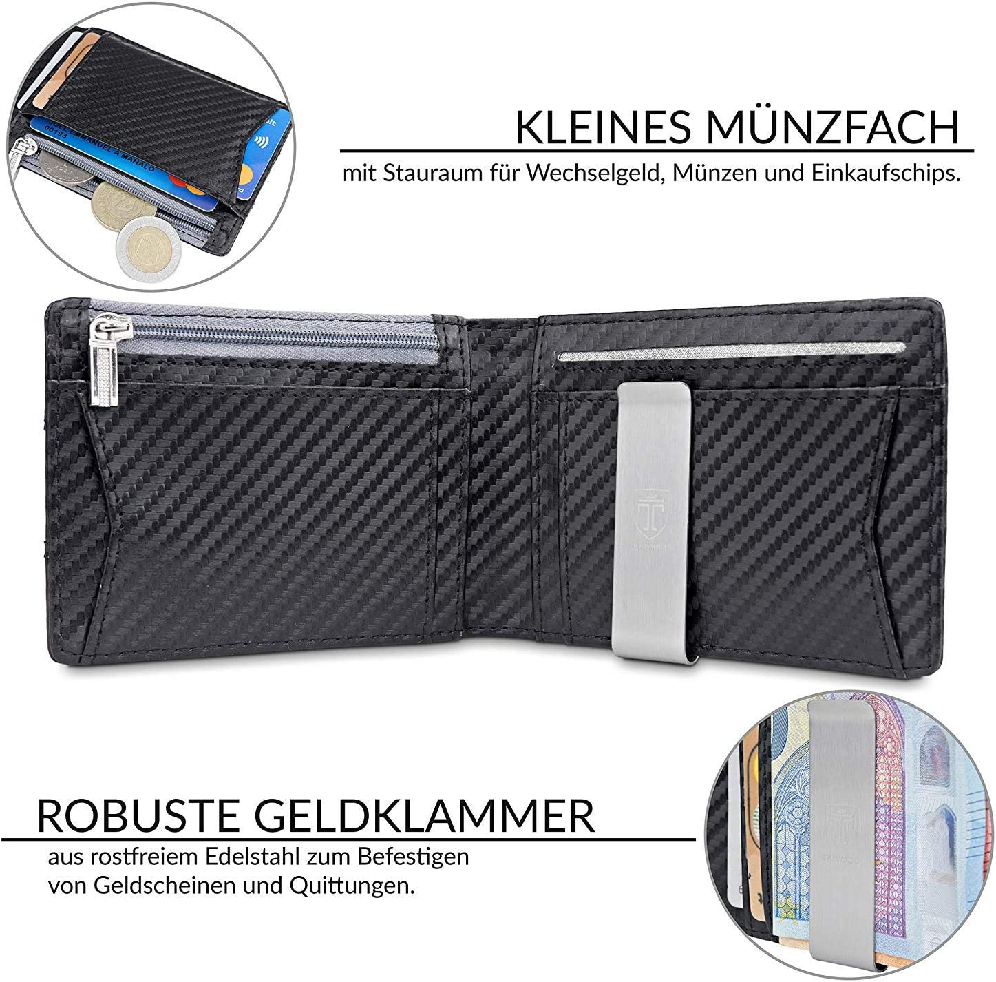RFID Blocking 10 Card Slots TRAVANDO /® Slim WalletAmsterdam Black /& White Designed in Germany Thin Bifold Money Clip Wallet with Gift Box Perfect Gift for Men with Coin Pocket
