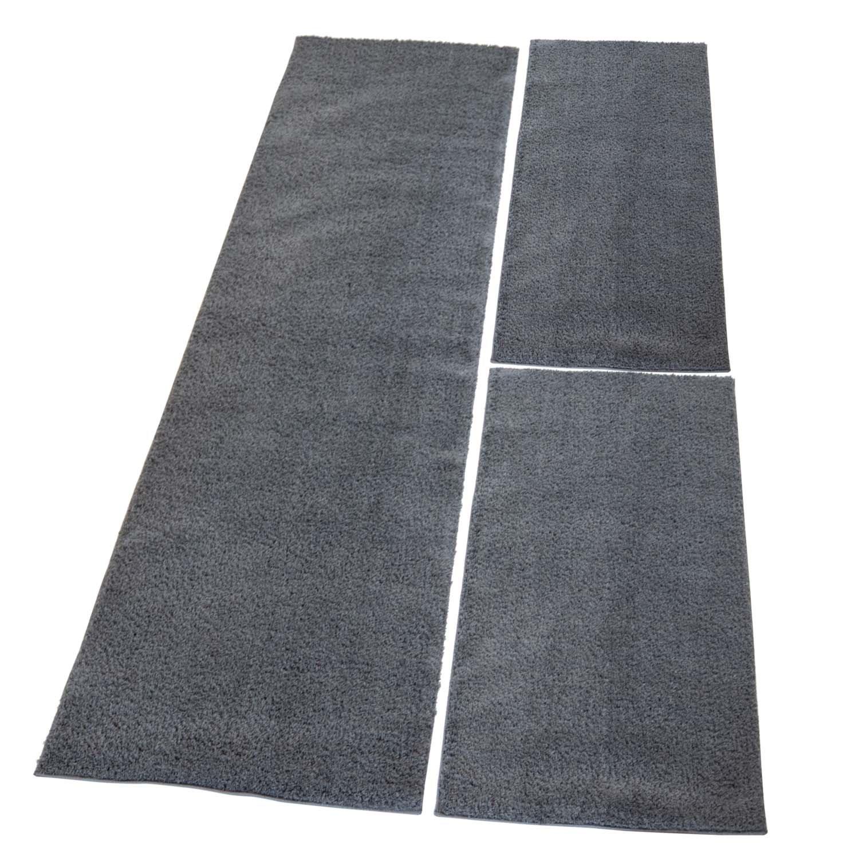 Carpet city Bettumrandung Shaggy aus hochwertigen Micro-Polyester, Hochflor Teppich-Läufer in Einfarbig Dunkelgrau, Anthrazit für Schlafzimmer