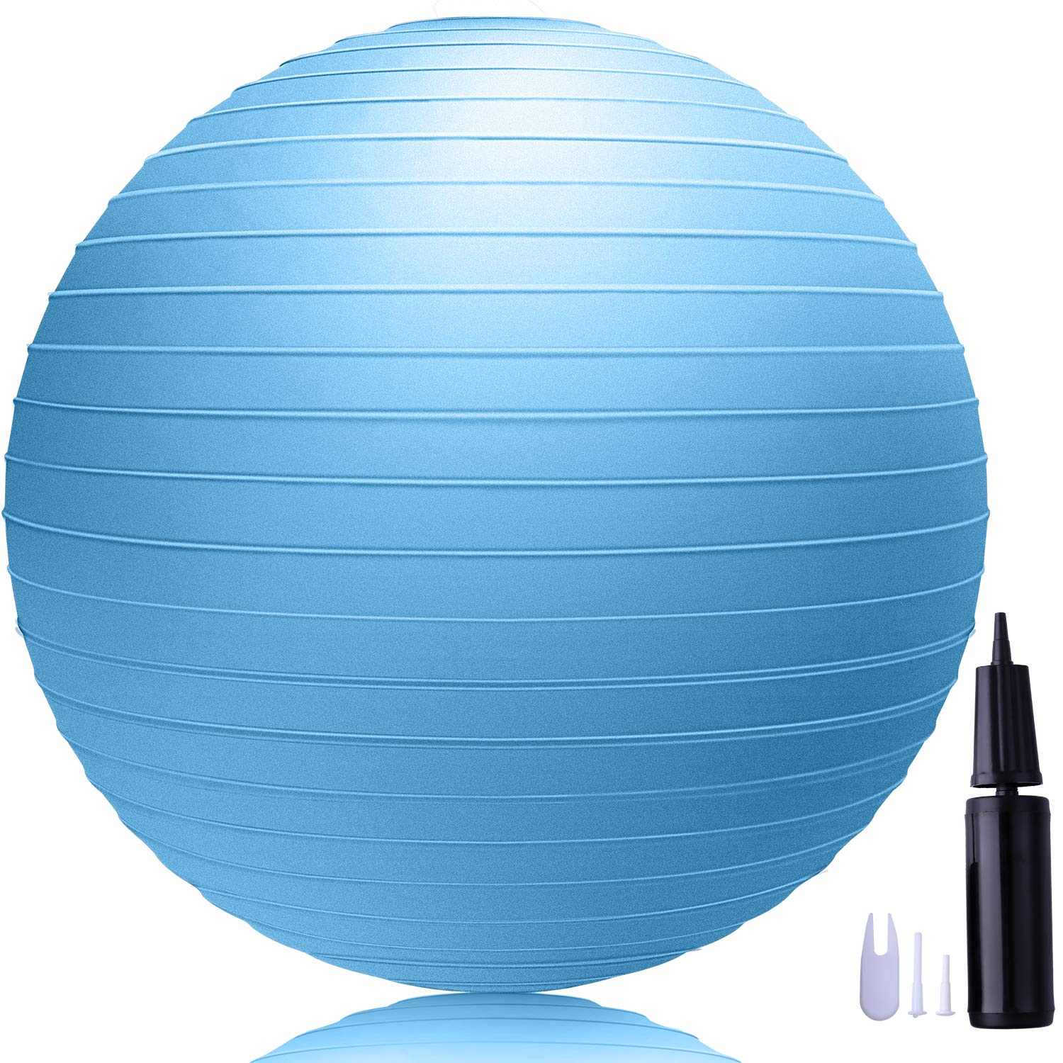 LAKIBOLE 75cm Exercise Ball Anti-Burst Yoga Ball with Quick Pump for Office & Home & Gym (Blue)
