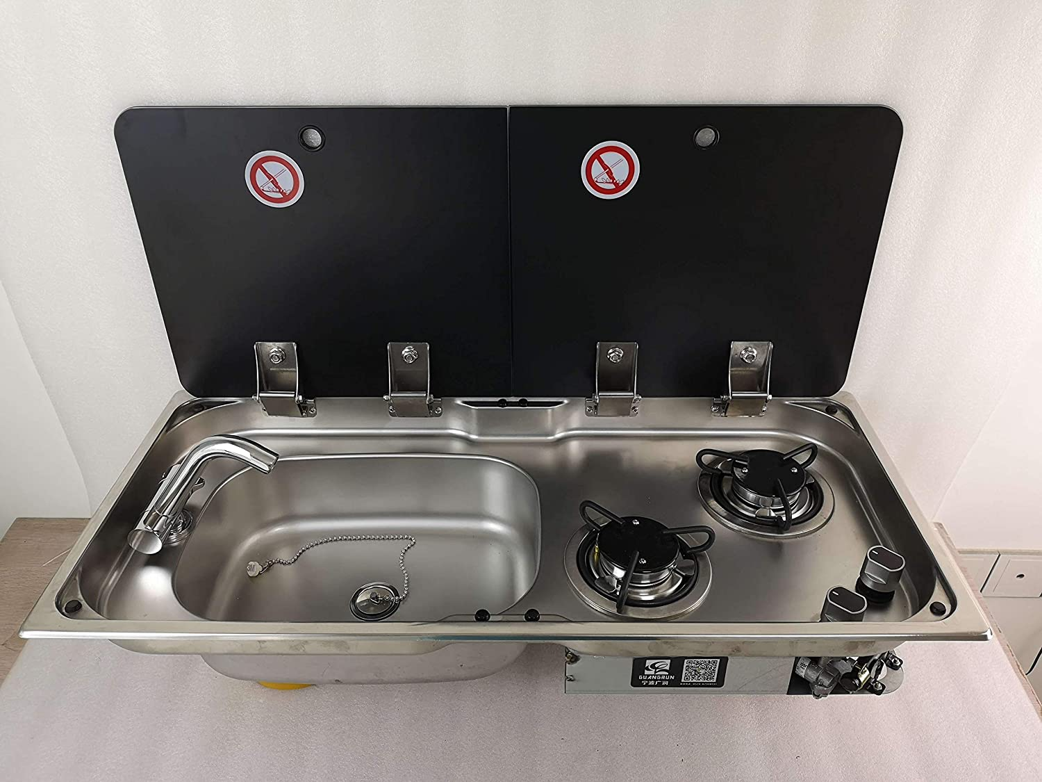 Boat Caravan RV Camper 2 Burner LPG Gas Stove Hob and Sink Combo with 2 Tempered Glass Top 775365150/120mm GR-904LD (With Faucet)