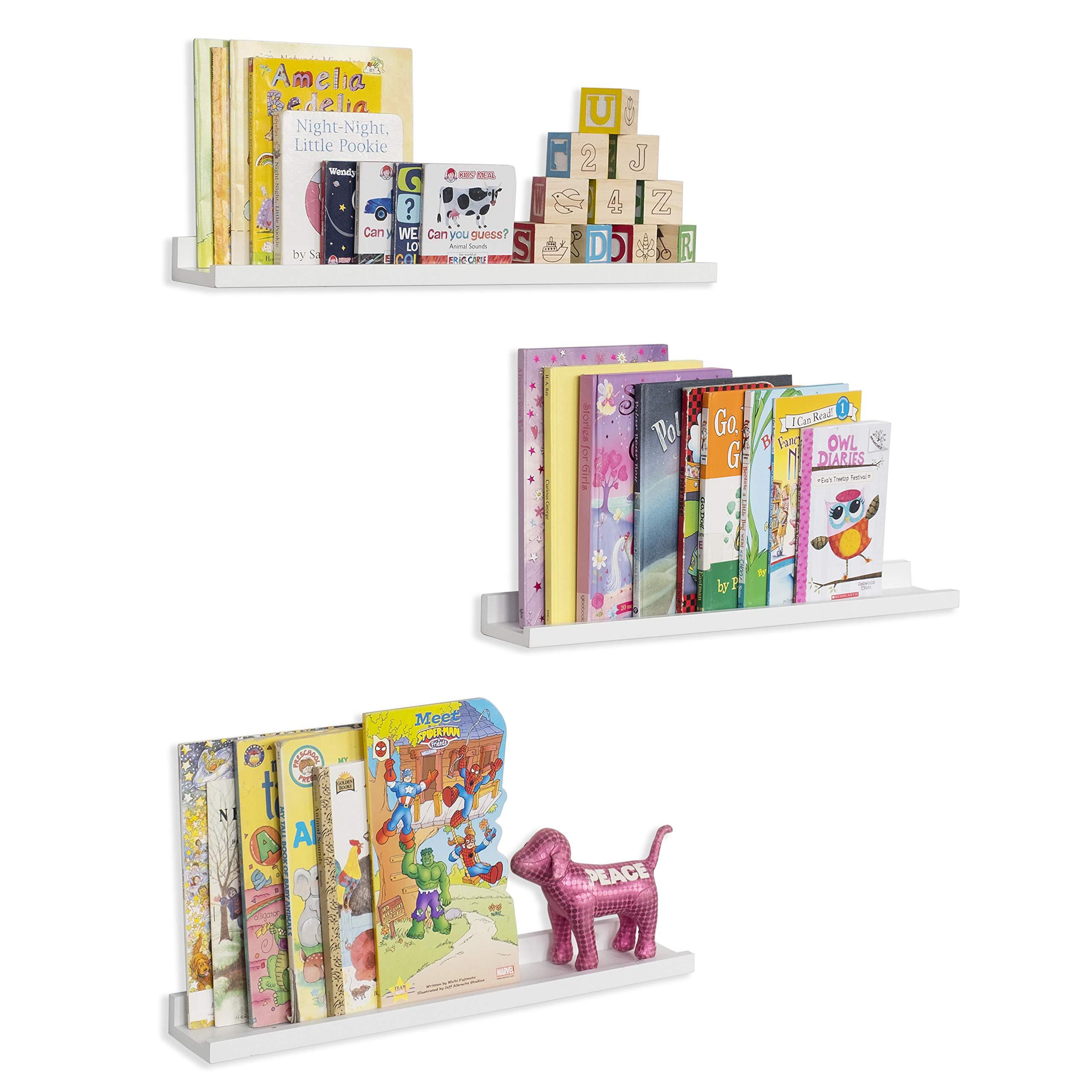 CDM product Wallniture Denver Wall Mounted Floating Shelves for Nursery Decor - Kid's Room Bookshelf Display - Picture Ledge White 22 Inch Set of 3 big image