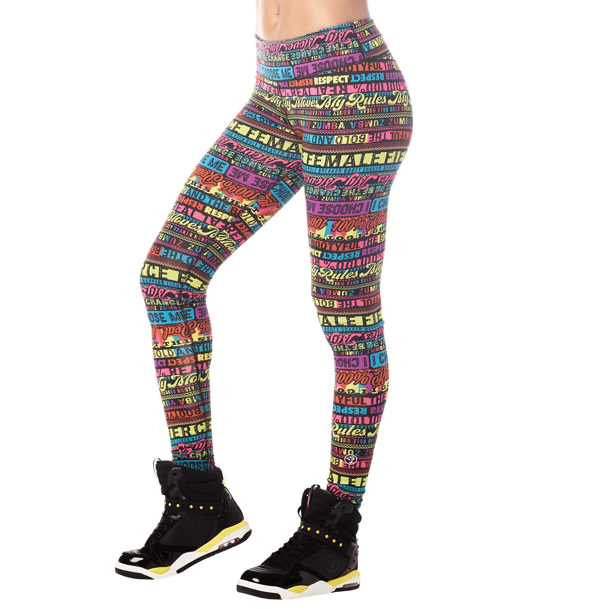 Zumba High Waisted Athletic Cropped Workout Leggings for Women, Shock Pinkish, M by Zumba