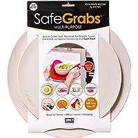 Safe Grabs: Multi-Purpose Silicone Original Microwave Mat as Seen on Shark Tank   Splatter Guard, Trivet, Hot Pad, Pot Holder, Minimize Mess (BPA-Free, Heat Resistant, Dishwasher Safe), Set of 2 Gray