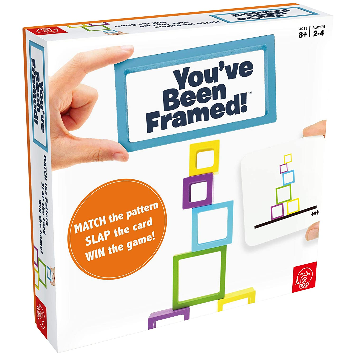ROO GAMES - PM16W You've Been Framed! - Fast-Paced Stacking and Building Game - for Ages 8+ - Match The Pattern, Slap The Card, Win!