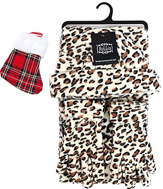53721864c2e Image Unavailable. Image not available for. Color  Womens Cream Leopard  Animal Print Fleece Gift Set - Scarf