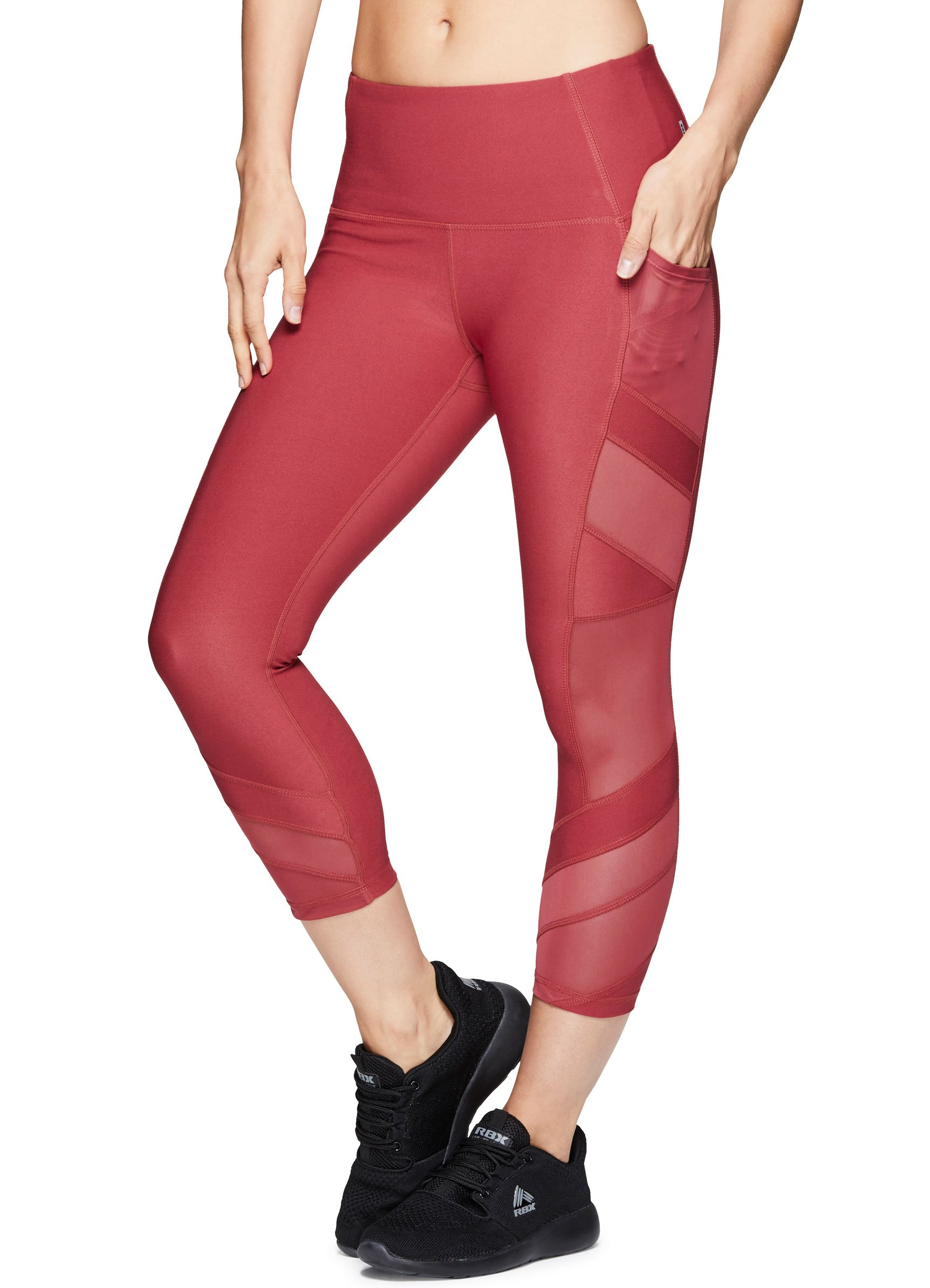 RBX Active Women's Workout Gym Yoga Athletic Leggings Red Multi Combo L