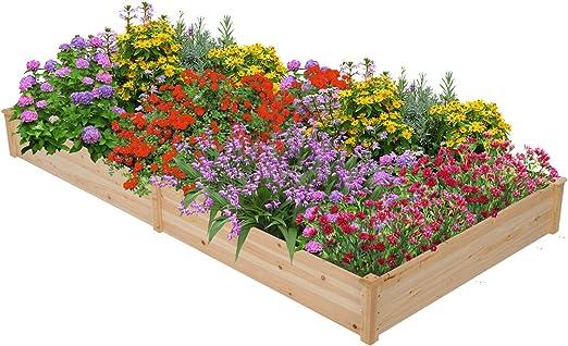 Kit de maceta rectangular de madera de bloque para plantar verduras, esquina, elevada, para jardín o