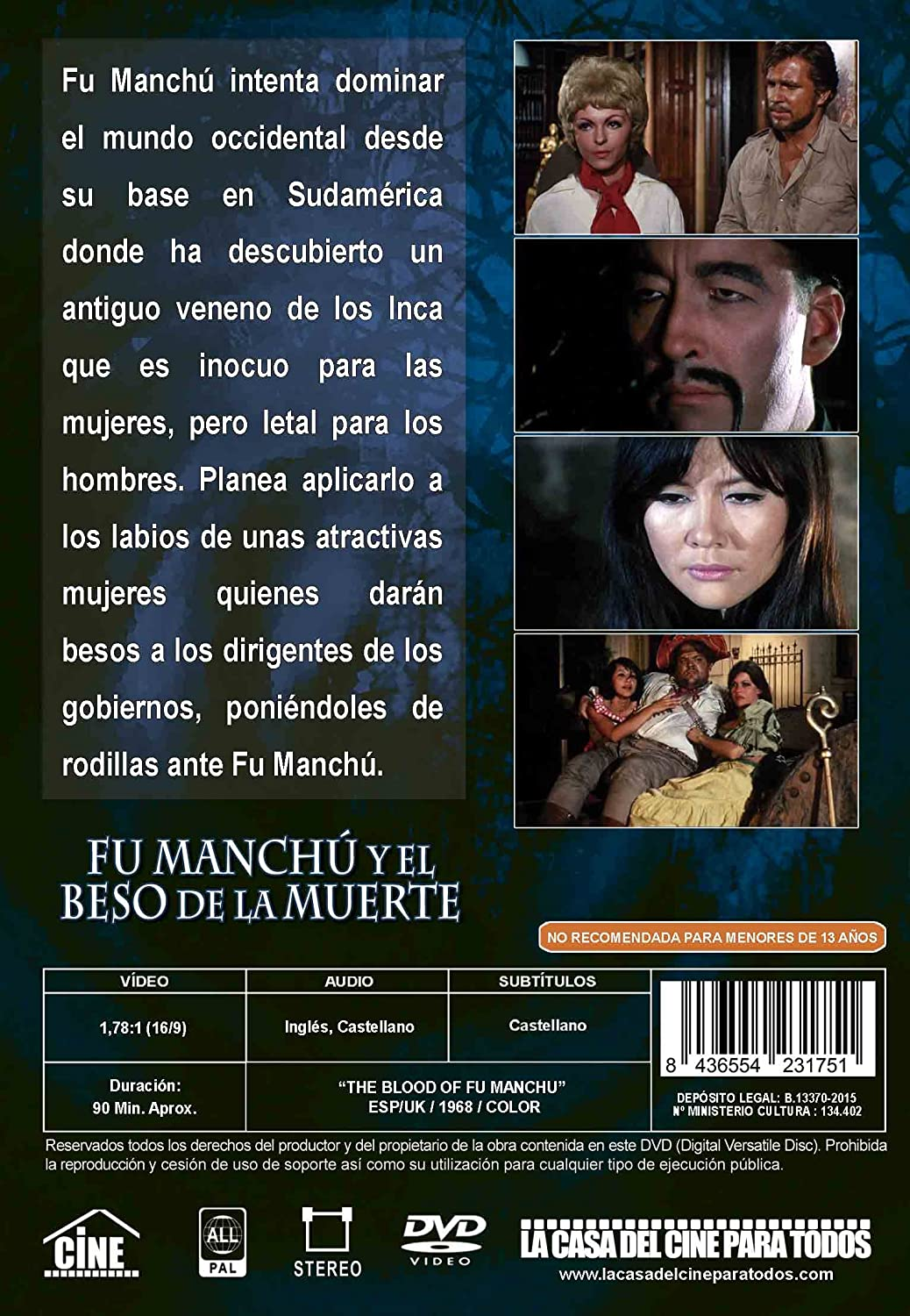 Fu-Manchú y el Beso de la Muerte [DVD]: Amazon.es: Christopher Lee ...