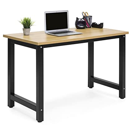 Best Choice Products Large Modern Computer Table Writing Office Desk  Workstation   Light Brown/Black