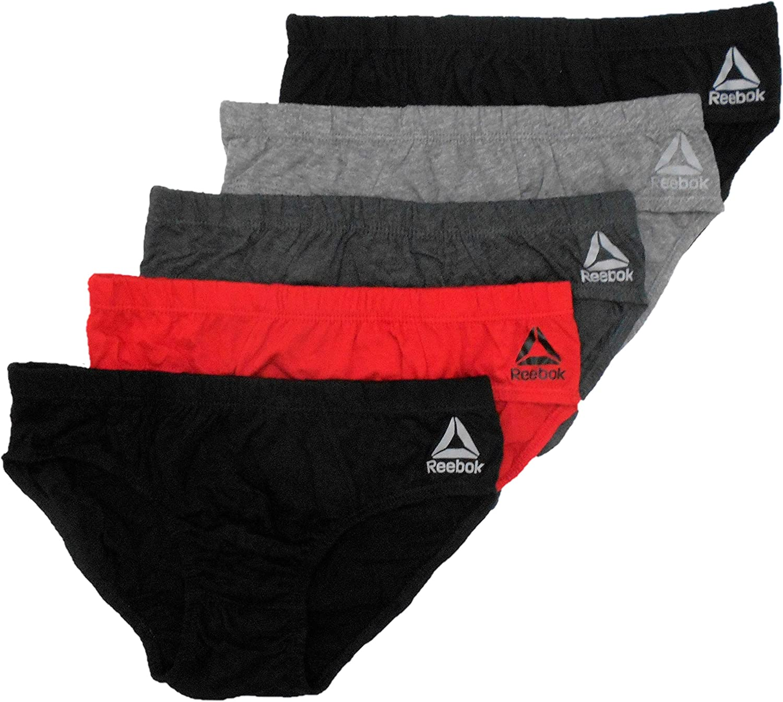 Reebok 5 Pack Low Rise Brief Men - Grey/Red/Black (XLarge)