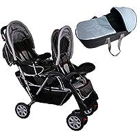 Passeggino fratelli o gemellare marrone e grigio Top Design - BambinoWorld