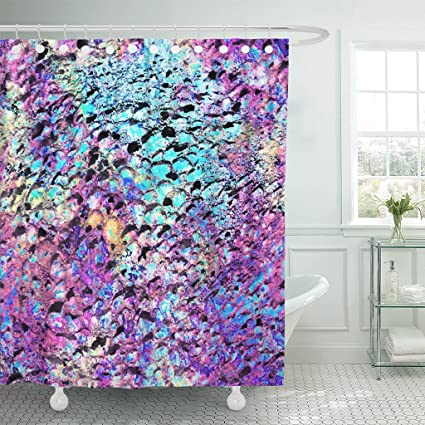 Amazon com: TOMPOP Shower Curtain Blue Stone Bright Violet