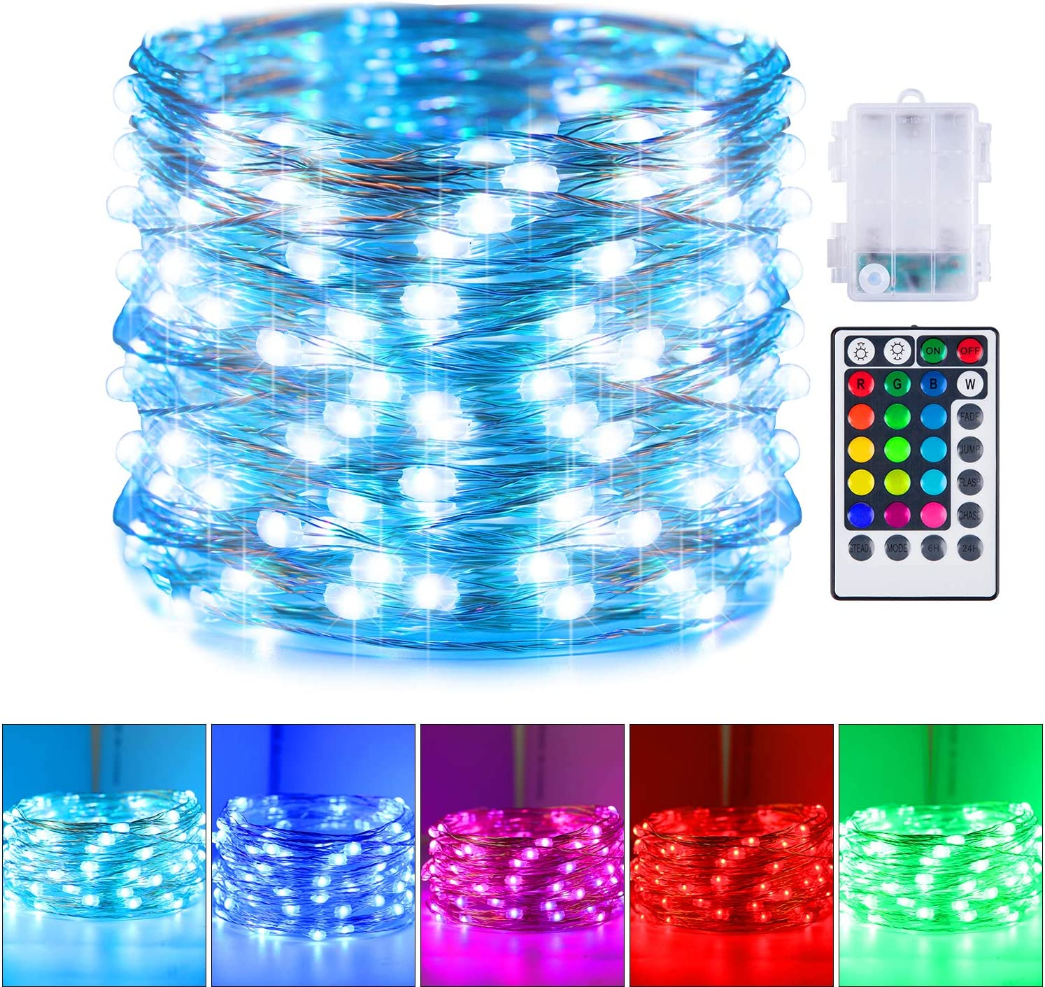 16 Color Changing Fairy Lights, Battery Operated Twinkle Lights with Remote and 8 Light Modes Waterproof 3AA Battery Case, String Lights for Bedroom Wedding Party Christmas Halloween, 33 Feet 100 Leds