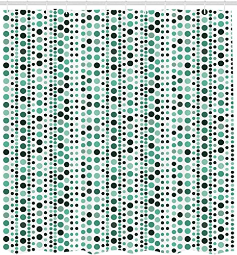 Amazon Com Ambesonne Modern Shower Curtain Retro 60s 70s Vintage Geometrical Circles Dots Points Ombre Image Cloth Fabric Bathroom Decor Set With Hooks 70 Long Hunter Green Turquoise Home Kitchen
