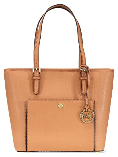 A Michael Kors Jet Set Travel Medium Saffiano Leather Tote - Acorn