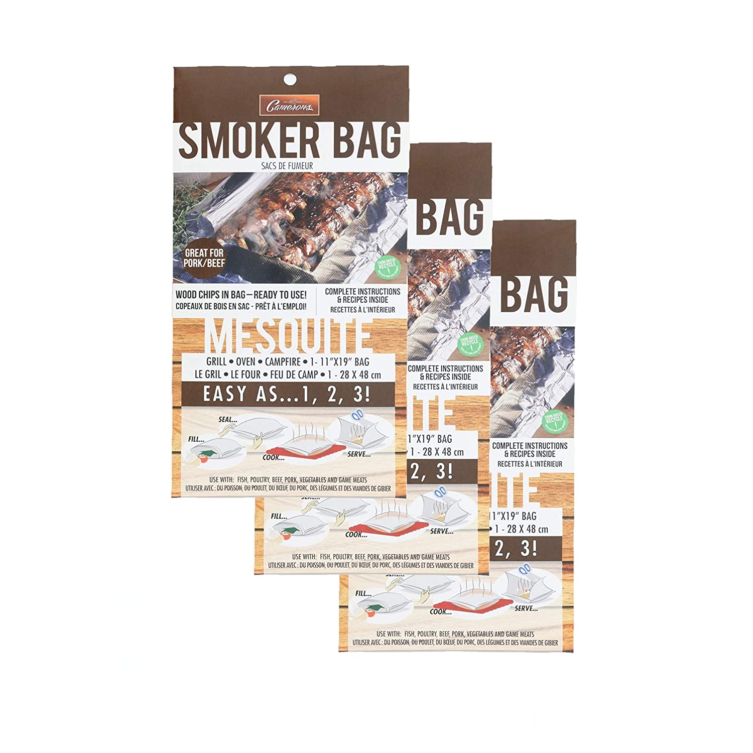 Camerons Smoker Bags - Set of 3 Mesquite Smoking Bags for Indoor or Outdoor Use - Easily Infuse Natural Wood Flavor