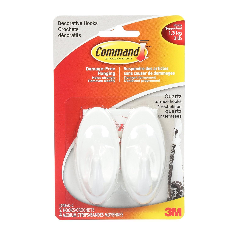 Command 17087S-C Terrace Hooks, Medium, Slate, 2 Hooks 4 Medium Strips 3M 17086S-C