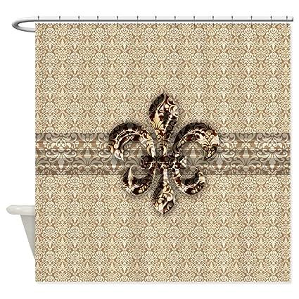 CafePress Golden Damask Fleur De Lis Decorative Fabric Shower Curtain 69quot