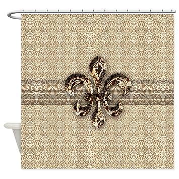 CafePress   Golden Damask Fleur De Lis   Decorative Fabric Shower Curtain
