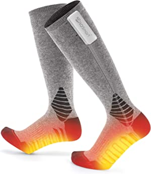 PROSmart Heated Socks Rechargeable Electric Sock with Battery pack for men and Women (Unisex,Gray & Black) …