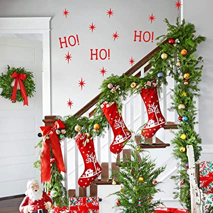 Apartment Christmas Decorations Indoor.Vinyl Wall Art Decal Ho Ho Ho And Stars 22 X 22 Christmas Seasonal Decoration Sticker Indoor Outdoor Window Home Living Room Bedroom