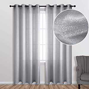 Silver Curtains 63 Inch Length for Bedroom 1 Panel Set Grommet Window Luxury Glitter Sparkle Darkening Semi Sheer Gray Elegant Shiny Curtains for Girls Room Decor Living Decorations 63 Long Light Grey