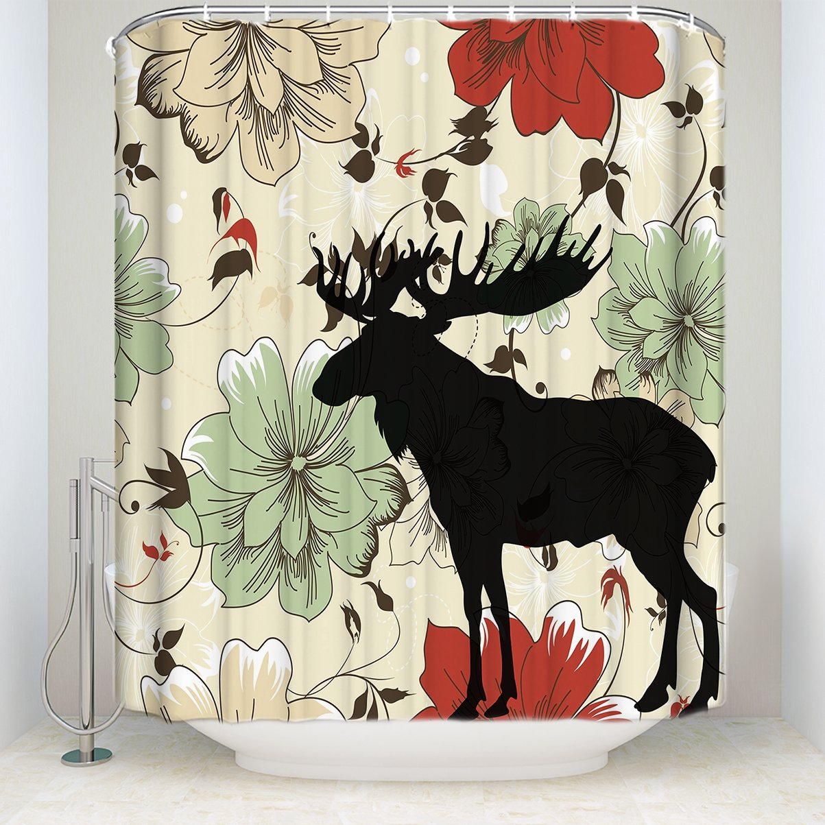 YEHO Art Gallery Shower Curtain Colorful Fresh Flowers with Elk Pattern Funny Soft Comfort Shower Curtain with Hooks 54x78 inches