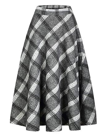 278e9d1c65c IDEALSANXUN Womens High Elastic Waist Maxi Skirt A-line Plaid Winter Warm  Flare Long Skirt