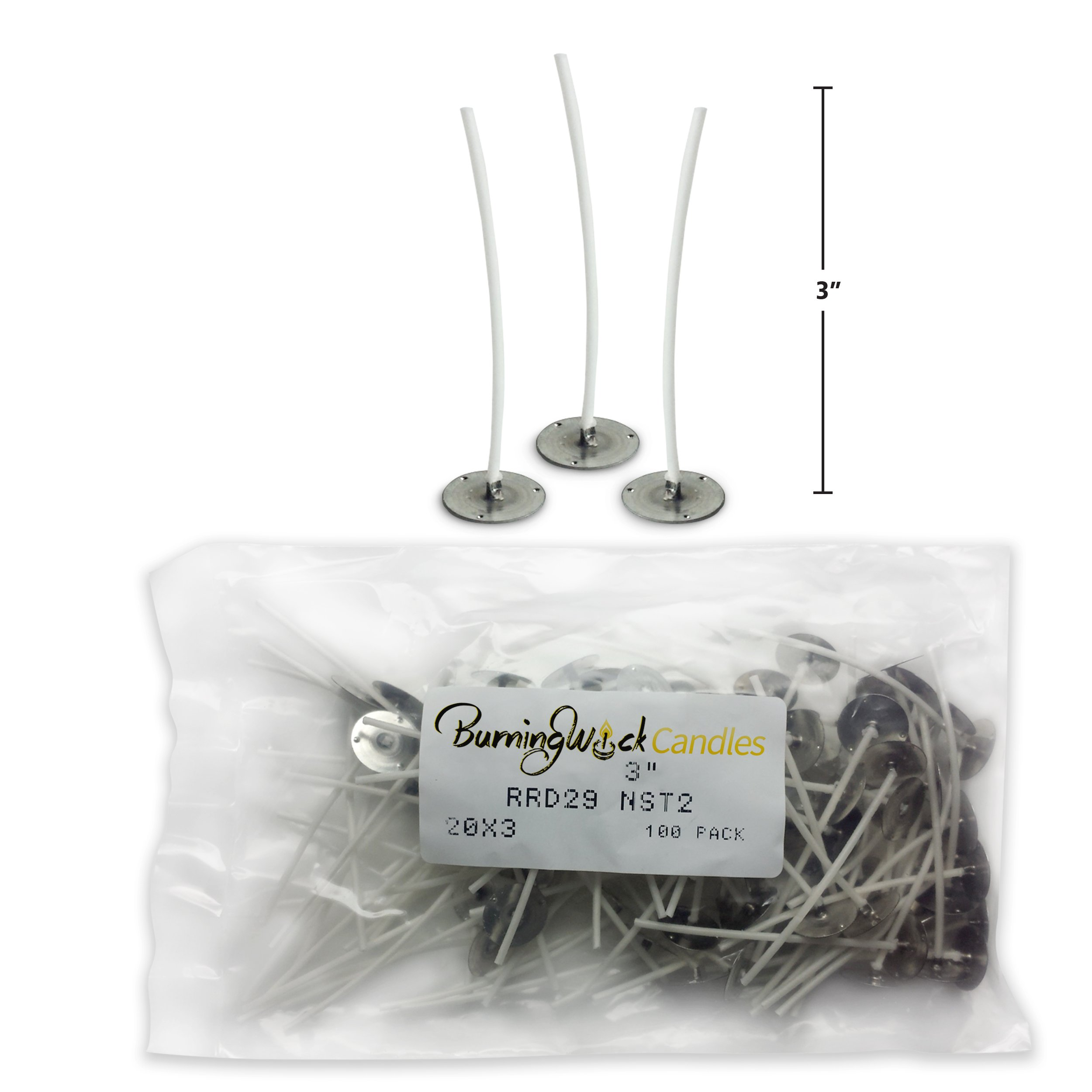 Small Cotton Candle Making Wicks Soy Prewaxed - 3 inch 100 Pack