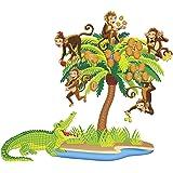 Little Folks Visuals LFV22704 Five Monkeys Sitting in a Tree Bilingual Rhyme Pre-Cut Flannel Boards