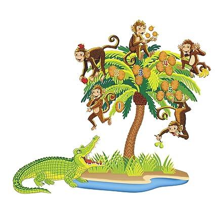 Little Folk Visuals Five Monkeys Sitting In A Tree Precut Flannel Felt Board Figures 7 Pieces Set