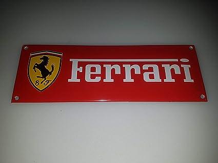 EMAILLE BBV Cartel (Ferrari Rojo 20 x 7 cm Email Taller IB ...