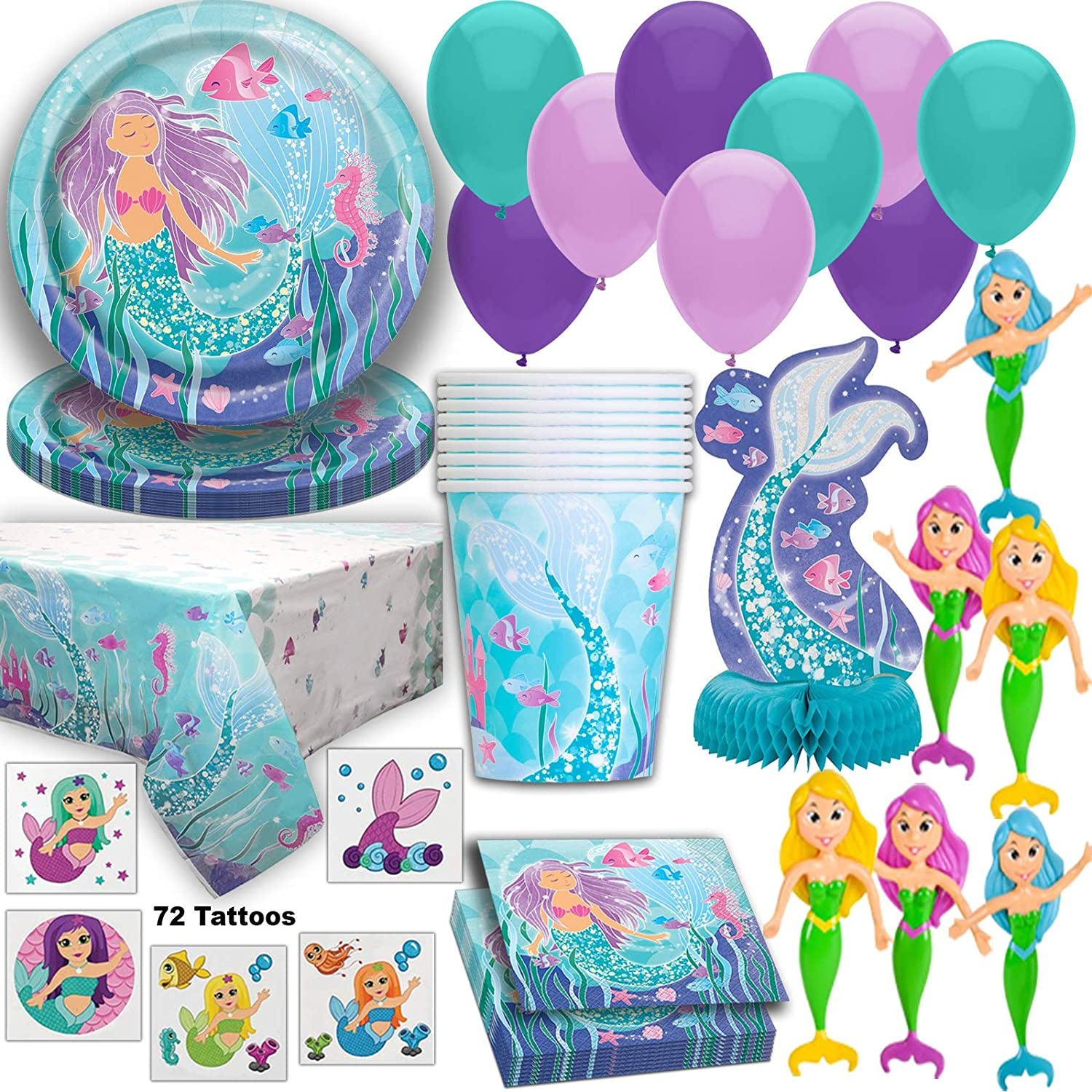 Mermaid Party Supplies for 16 Guests, Plates, Cups, Napkins, Tablecloth, Centerpiece, Balloons, Tattoos, Bendable Dolls - Under the Sea Birthday Amazon.com: Cups