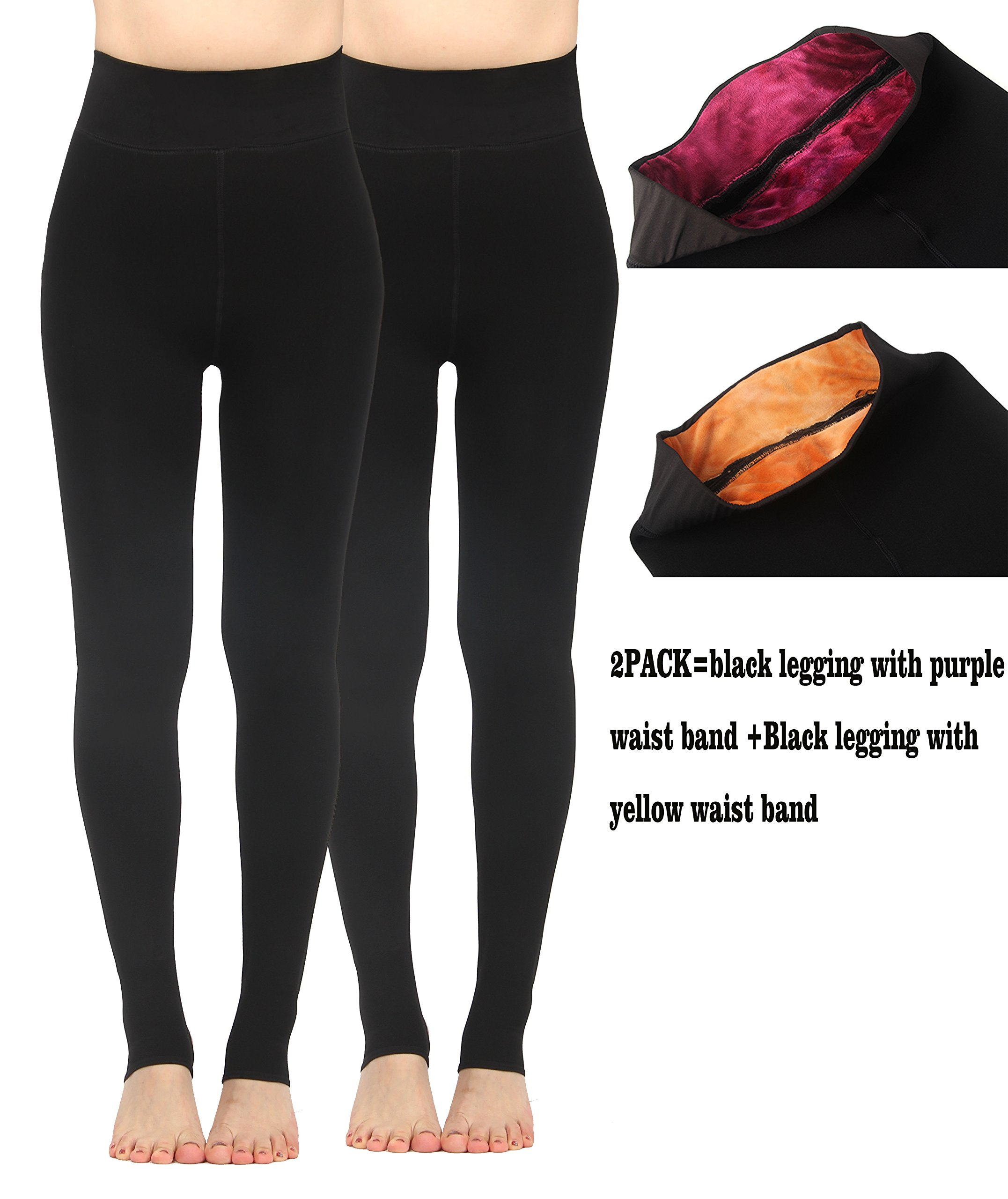iLoveSIA 2PACK Women's Thick Faux Fur Lined Thermal Legging One Size Fit XS to XL by iLoveSIA (Image #3)