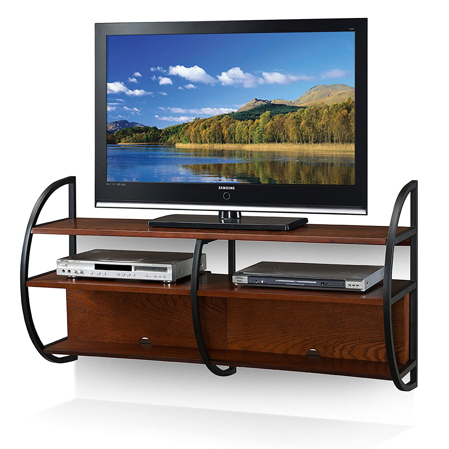Amazon.com: Leick Home Floating Wall Mounted TV Stand, Medium Oak Finish:  Kitchen U0026 Dining