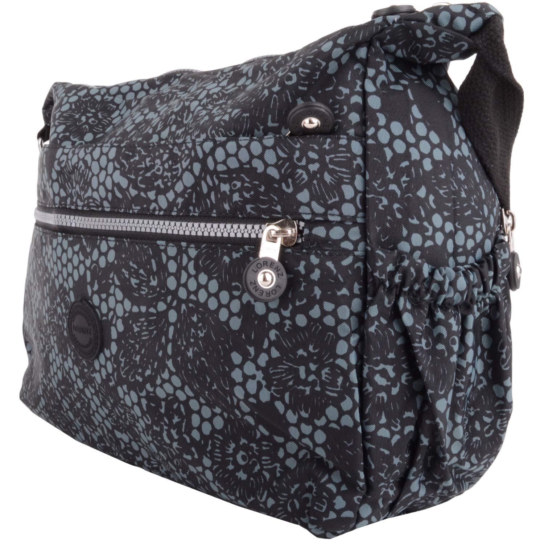 Kvinnor medium resa shopping tvärs över kroppen axelväska med flera funktioner Svart blommig