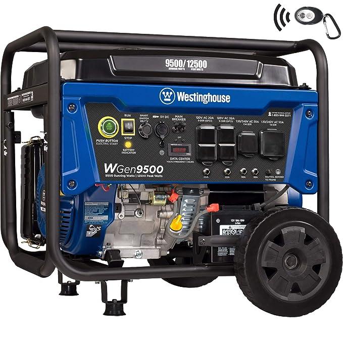Westinghouse WGen9500 Heavy Duty Portable Generator - 9500 Rated Watts &  12500 Peak Watts - Gas Powered - Electric Start - Transfer Switch & RV  Ready