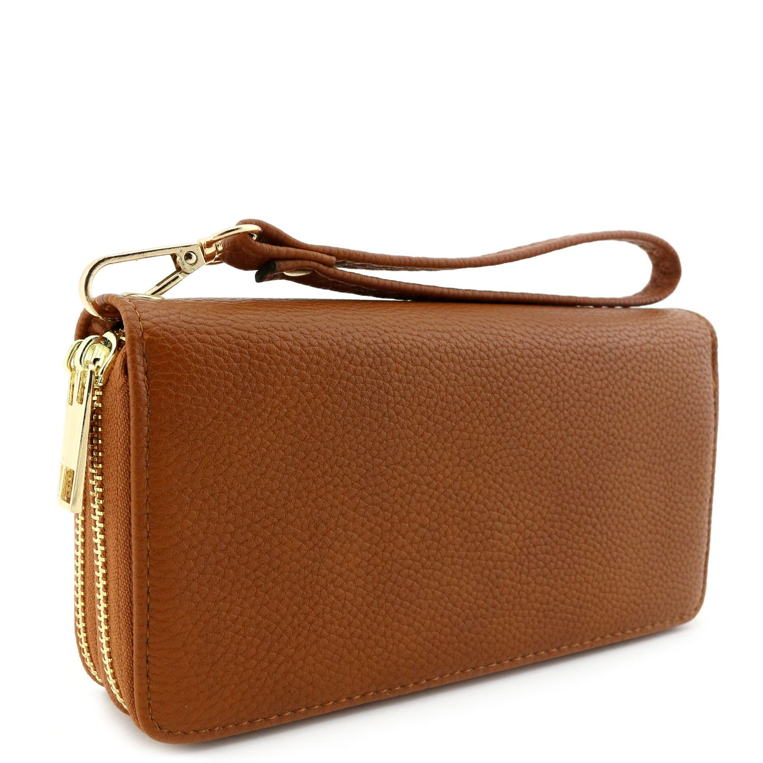 Double Zip Around Wristlet Wallet Brown