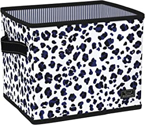 SCOUT Hang-10 Collapsible Storage Bin with Handles, Water Resistant Storage Container Fits Hanging Files, Office Supplies or Bathroom Storage in City Kitty Leopard Print