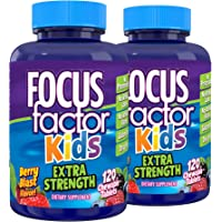 Focus Factor Kids Extra Strength Daily Chewable for Brain Health Support, 120 Count – Vitamins for Kids - Quality…