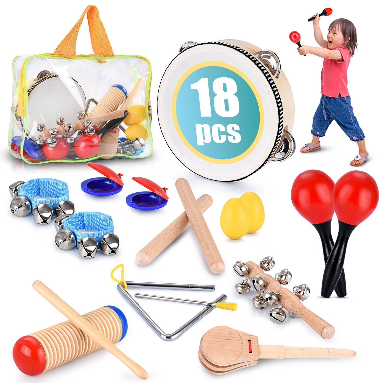 Toddler Educational & Musical Percussion for Kids & Children Instruments Set 18 Pcs - with Tambourine, Maracas, Castanets & More - Promote Fine Motor Skills, Enhance Hand to Eye Coordination, by BRITENWAY