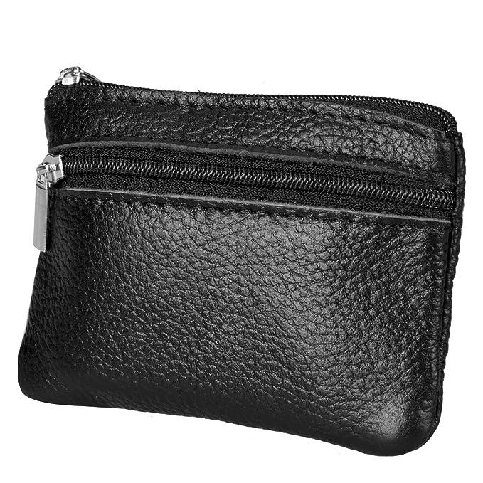 Amazon.com: Monedero portátil de piel auténtica para mujer ...
